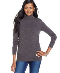 JM Collection Button-Sleeve Turtleneck Sweater, Only at Macy's | macys.com