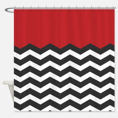 Lovely CafePress Shower Curtain   Red Black And White Chevron Shower Curtain    White