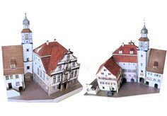 Wangen Town Hall Free Building Paper Model Download  r The rear facade has the town hall until 1721. Since the Middle Ages it was a simpler building, as of 1611 shows the cityscape of the painter and cartographer Andreas Rauch from the opposite direction. This Cityscape is located in the old boardroom and Landttafel to around Wangen in the stairwell. The former long house at the market belonged to the reeves of Altensummerau to Praßberg and Leupolz.