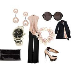 Pink and pearls, created by ellegraham.polyvore.com