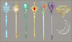 Explore the Staff and Wands collection - the favourite images chosen by KariaSilles on DeviantArt. Fantasy World, Fantasy Art, Sword Design, Anime Weapons, Weapon Concept Art, Magic Art, Anime Outfits, Magical Girl, Wands
