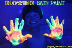 GLOWING Bath Paint! Only 2 ingredients to make bath time truly magical