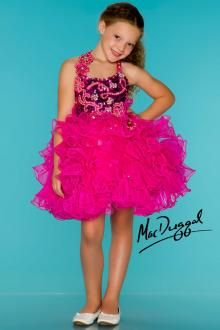 Hot Pink Cupcake Style Little Girls Pageant Dress