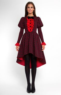 Long-sleeve stretchy cotton dress. Round neck. Hidden back zip closure. Narrow balloon sleeves from shoulder. Side seam pockets. Lace jabot with velvet buttons and bow.