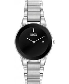 The Citizen Ladies Eco-Drive Axiom Watch affords a refined and sleek look that makes it the perfect trendsetting watch. This everyday sharp watch features a stainless steel case and bracelet with a black dial, silver tone hands and a date display. Mens Silver Necklace, Citizen Eco, Watch Model, Stainless Steel Watch, Photo Jewelry, Color Negra, Black Silver, Bracelet Watch, Watches For Men