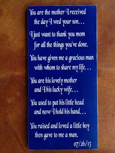 Customizable MotherInLaw Wedding Gift Real by FussyMussyDesigns, $28.00