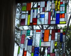 Items similar to stained glass panels in Salvaged Wood Window -BOUNTY OF COLOR -Art-Suncatcher on Etsy