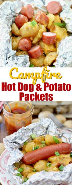 Campfire Hot Dog & Potato Packets recipe from The Country Cook - premade camping food ideas - HotDog Camping Desserts, Campfire Dinner Recipes, Vegetarian Camping Recipes, Camping Dishes, Camping Meals, Grilling Recipes, Camping Cooking, Backpacking Recipes, Cooking Fish