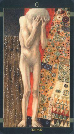 Obra de AA Atanassov, inspiradas en nas pinturas de Gustav Klimt. El Dourado Tarot de Klimt ESTA inspirado no Estilo artístico do principio do século XX, do pintor Austriaco Gustav Klimt. A arte é viva e sensual, intercalando padrões de mosaico e detalhes em ouro metálico.