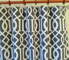 """Pair of 50"""" Rinaldi Kemble in grey/slate and natural trellis panels, drapes, curtains - 50x63"""" 50x84"""" 50x96"""" or 50x108"""" also in fawn, blue"""