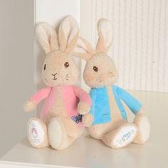 Beatrix Potter Peter Rabbit & Flopsy Rabbit Bean Rattles, wonderful keepsake gift soft toy.