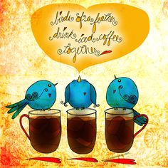 """#summer #friends """"Birds of a feather drink iced coffee together."""" Friends flock to Montreal! What my #Coffee says to me June 2 - drink YOUR life in - laugh, celebrate, enjoy a flock of good friends :) Cheers!  (What my Coffee says to me is a daily, illustrated series created by Jennifer R. Cook)"""