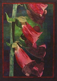 WOW -- art quilt by Lenore Crawford. Patchwork Quilting, Applique Quilts, Art Quilting, Hand Applique, Flower Applique, Fiber Art Quilts, Textile Fiber Art, Quilt Art, Watercolor Quilt