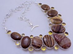 free shipping f-68 Stunning Landscape Jasper - Citrine  .925 silver handmade necklace jewelery by SILVERHUT on Etsy