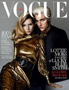 Lottie Moss & Lucky Blue Smith by Mario Testino for Vogue Paris May 2016 cover - Saint Laurent by Hedi Slimane