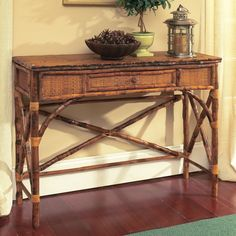 Coastal Bamboo Console Table with Drawer - Beach Décor Shop
