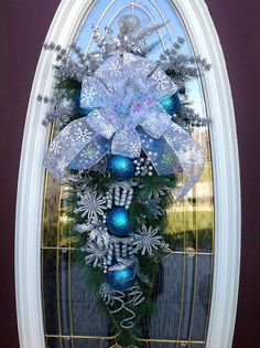 Christmas Wreath Winter Wreath Vertical by AnExtraordinaryGift, Christmas Swags, Silver Christmas, Christmas Door, Holiday Wreaths, Christmas Holidays, Merry Christmas, Christmas Ornaments, Ball Ornaments, Winter Wreaths