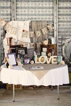 rustic barn wedding table decor with burlap