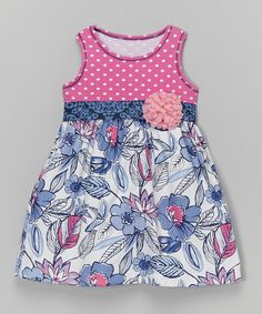 Look at this Blue & Pink Floral Bow Babydoll Dress - Toddler & Girls on #zulily today!