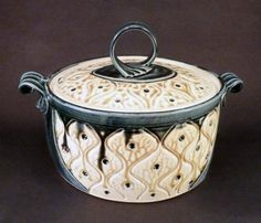 Ira Burhans - Clay and Paper - casserole carved - teal and tan w/ dots - Phoenix Art Gallery  Pinned from PinTo for iPad 