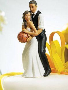 groom bride wedding cake top ethnic basketball sports slam dunk dribble hoop backboard referee jersey NBA