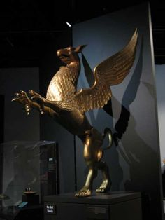 Joe Leonard's Griffin at the Mythic Creatures Exhibit. The Griffin appears in the stories of many cultures in North Africa, the Middle East and Europe. Griffins symboylize majestic and noble creatures, like eagles and lions.  Found at the Frazier History Museum, in Louisville, Kentucky