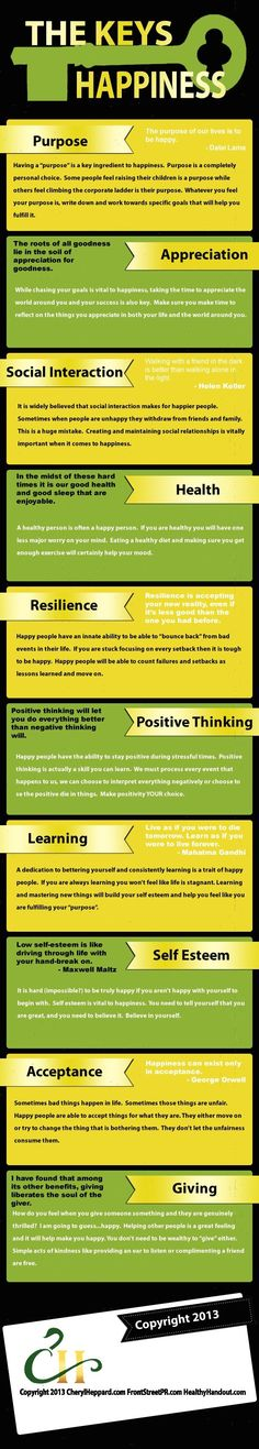 The Keys To Happiness happy life happiness positive emotions lifestyle mental health confidence infographic self improvement infographics self help emotional health Key To Happiness, Happiness Project, Finding Happiness, Work Life Balance, Coaching, Positive Psychology, Angst, Self Development, Self Esteem