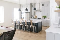 Mindful gray cabinets, white dove walls