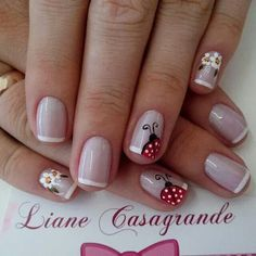 35 French Manicure designs: Check out the cute, quirky, and incredibly unique nail designs Toe Nail Designs, Fingernail Designs, Nail Polish Designs, Fabulous Nails, Gorgeous Nails, Pretty Nails, Spring Nails, Summer Nails, Ladybug Nails