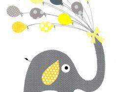 Gelb und grau Elefant Kinderzimmer Artwork Print / / Baby Zimmerdekoration / / Kinder Zimmer Dekoration / / Geschenke unter 20