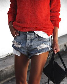 #StreetStyle #RedSweater #OneTeaspoonShorts