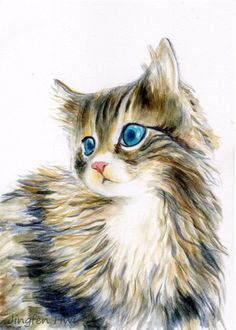 "cat art print of ""A Furry Kitten"" for wall art or wall deco cat nursery decor (77)"