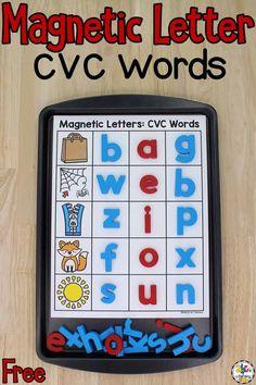Enrichment Activities, Phonics Activities, Toddler Activities, Preschool Activities, Kindergarten Literacy, Literacy Centers, Letter Sound Activities, Cvce Words, Magnetic Letters