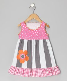 Take a look at this Gray & Pink Stripe Babydoll Dress - Toddler & Girls on zulily today!