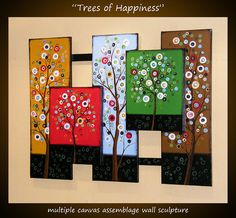"Original Large Abstract Sculpture Painting... ""Trees of Happiness"", Huge wall assemblage piece by Amy Giacomelli"