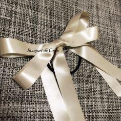 ハンドメイド サテンのロングリボン♡ 長いリボンが垂れるのがオシャレ♡  http://s.ameblo.jp/bouquet-de-coeur/  Handmade lovely long ribbon hair accessory