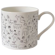 Scandinavian Design, Mug With Small Animal Scatter