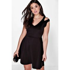 Boohoo Plus Plus Julia Cut Out Shoulder Skater Dress ($28) ❤ liked on Polyvore featuring dresses, black, party dresses, maxi dress, sequin bodycon dress, skater dress and bodycon cocktail dress