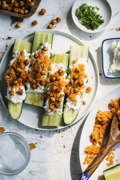 Cucumber spears plus quinoa, whipped feta and roasted chickpeas--a tasty vegetarian meal or side dish!