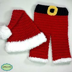 This crochet pattern makes a newborn baby Santa hat and pants set. Adorable little set for your babies first Christmas photo shoot or pictures with Santa Claus!