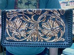 Checkbook / Cover / Leather / Sheridan / Hand  Carved and Tooled / Leather / Check Book / Case