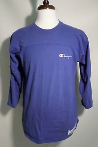 Mens Size XL Vintage 70s-80s Champion Brand 3/4 Sleeve T Shirt, New York, Blue