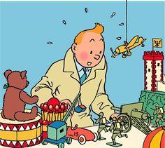 Tintin regarde les jouets.