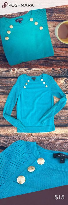 The Limited Teal Sweater with Gold Buttons One of the softest sweaters I have ever felt! So comfy! Amazing buttons adorn this beaut. Mint condition. •No returns, no trades •10% discount on 3+ items The Limited Sweaters Crew & Scoop Necks
