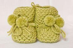 Baby Wool Boots - Baby Green.  https://www.facebook.com/flocosdela