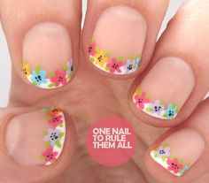Revamped French Manicure Florals