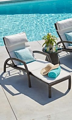 The Most Coveted Poolside Seat: The Chaise Lounge. Click for tips on choosing the right one for you!   Frontgate Blog