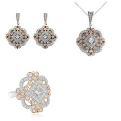 14K Rose Gold Vintage Antique Cubic Zirconia Earrings, Pendant and Ring