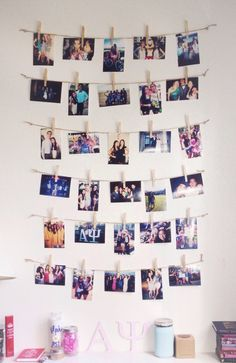 You could definitely do this with a poloroid! It totally reminds me of a huge collage! Do this on an empty wall!