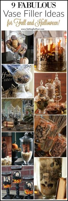It's fun to decorate your vases and apothecary jars for the seasons and holidays! See these 9 fabulous vase filler ideas for Fall and Halloween!